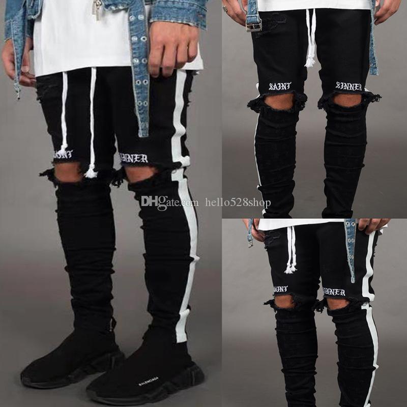 Fashion Stretch getragen gestickte Jeans-Hosen für Männer Schwarze Löcher Designer weiße gestreifte Jeans Hip Hop Skateboard-Bleistift-Hosen