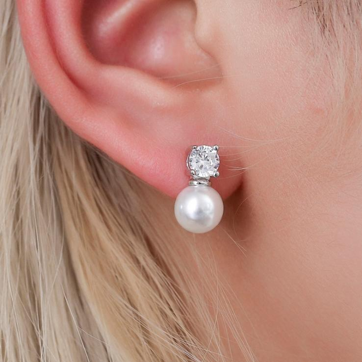 2020 Fashion Jewelry Simulated Pearl Rhinestone Earrings For Women Simple Elegant Stud Earring Beautiful Wedding Jewelry