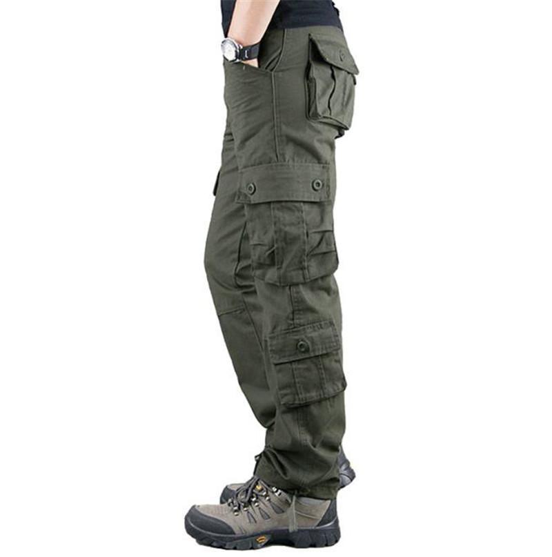 Fashion-Designer Mens Cargo Pants Army Green longues lignes droites Jogger des hommes en vrac Pantalons Outdoor Mid Taille Homme Vêtements