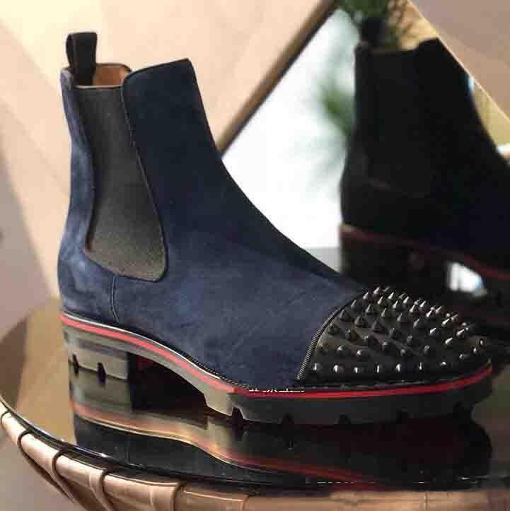2019 Inicio de lujo del pie roja tendencia de la moda de los hombres botas de la bota del tobillo del cuero genuino abajo ante con rojo decorativo del remache corto Caballero Botas