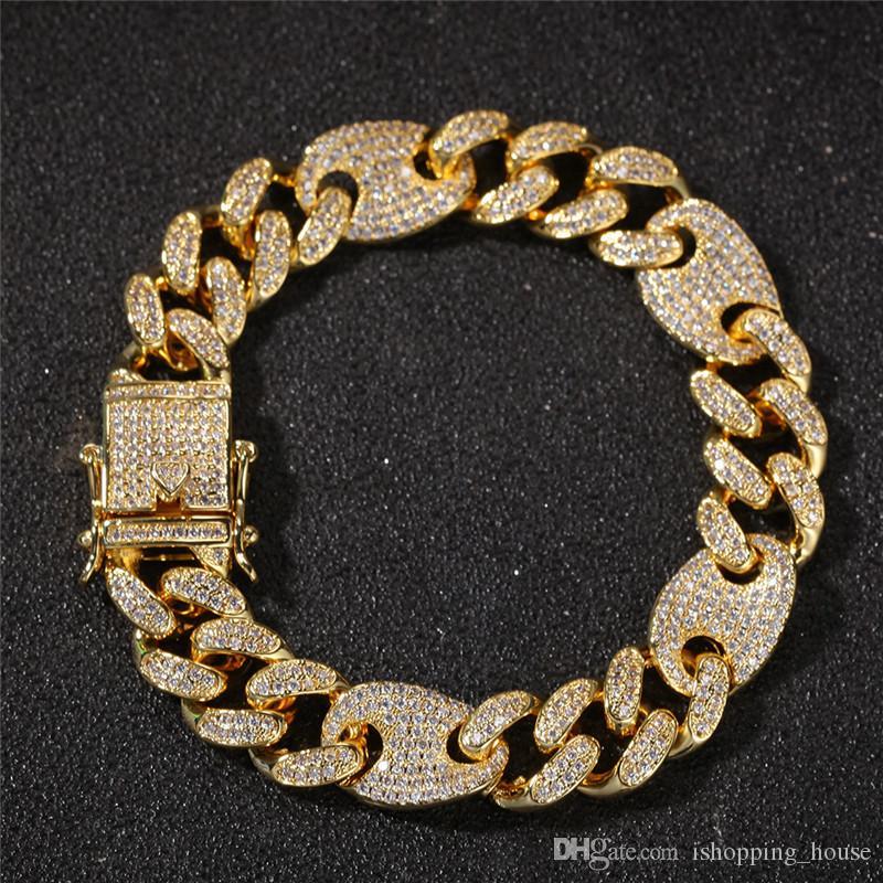 13 milímetros 7 polegadas 8 polegadas Cadeia Blling CZ cubana Bracelet Link for Men 18k Pulseira de Pulso amarelo banhado a ouro por Homens para festa de casamento