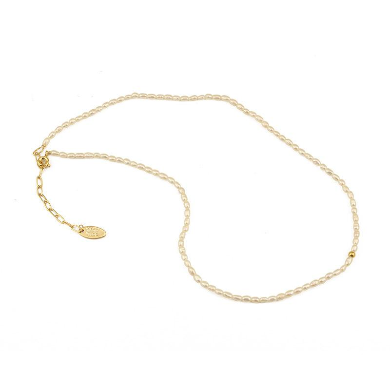 White Baroque Pearl Necklace Gold Color Fashion Style Choker Necklace 36cm For Women Girl Jewelry Gift