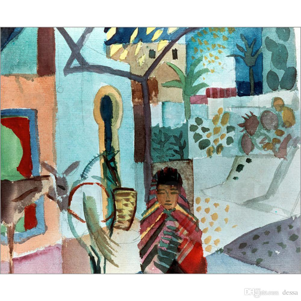 Landscapes paintings abstract wall art Girl with horse and donkey August Macke hand painted oil canvas home decor