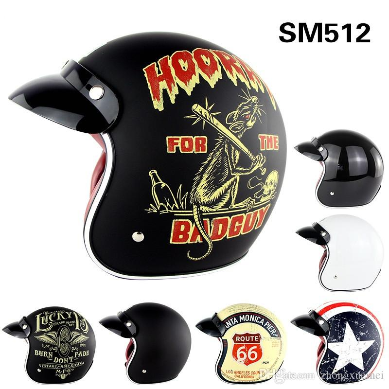 Harley Open Face Motorcycle Helmets Retro Vintage Motorcycle Helmet Chopper Scooter 3//4 Open Face Casco Moto Helmet DOT