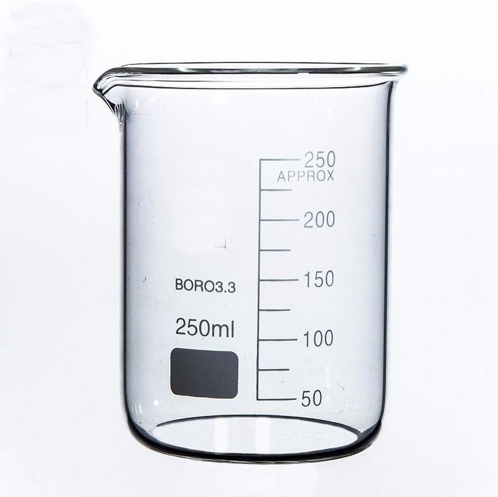Lab250ml forma bassa Becher Chimica Laboratorio vetro borosilicato trasparente coppa ispessito con beccuccio