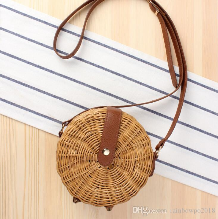 Factory wholesale women handbag summer new simple round straw bag hand-woven natural rattan women shoulder bag forest round messenger bag