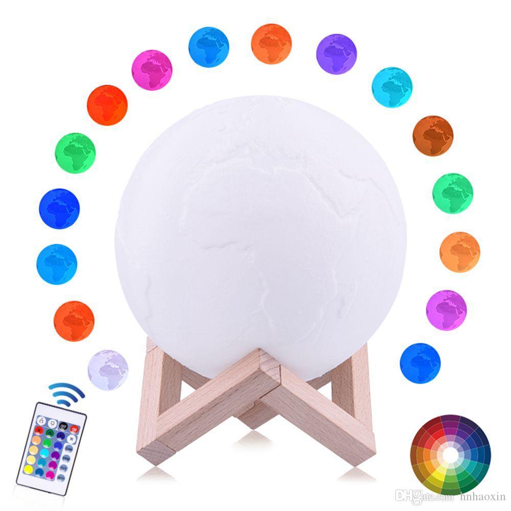 Haoxin 3D Print lampada LED Terra ricaricabile LED colorato rotonda cambio lampada di tocco USB a casa di notte della luce decorazione creativa regalo