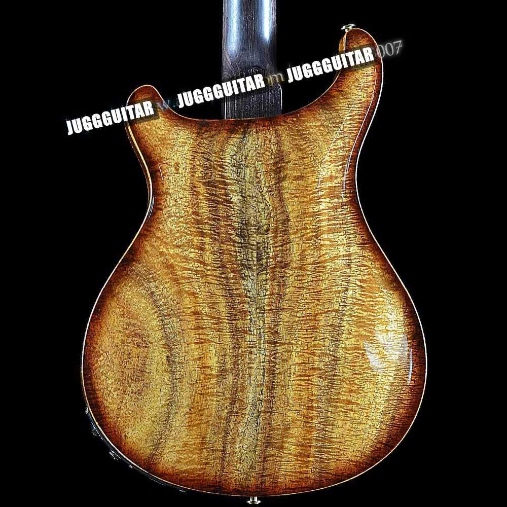 Reed Smith corps creux II Justes Private Stock Satin Koa Flame Maple Vintage Brown Guitare électrique Trous Double F, Abalone Birds Inlay