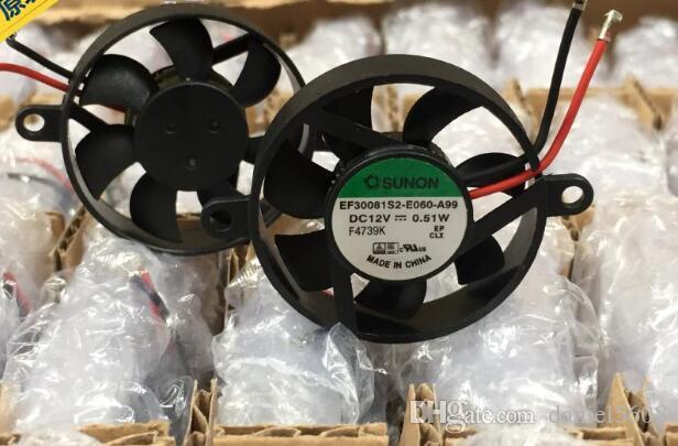 Wholesale: genuine SUNON 3007 30*30*7MM 3CM 12V 0.51W EF30081S2-E060-A99 two-line small round fan