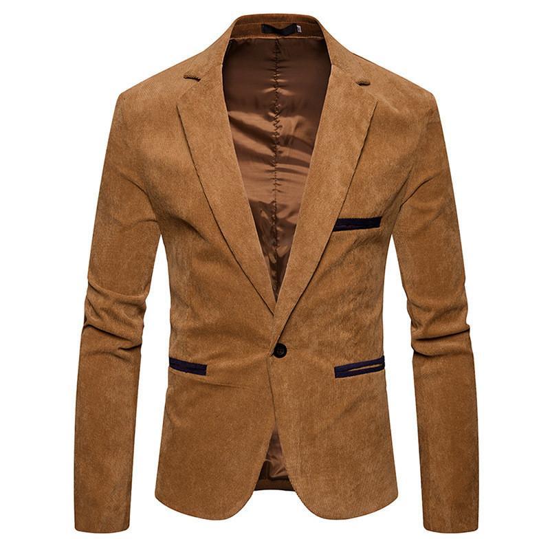 V-Ausschnitt Langarm Herren Cord Blazer Fashion Single Button Einfarbig Herren Anzüge Jacke Frühling Herren Bekleidung