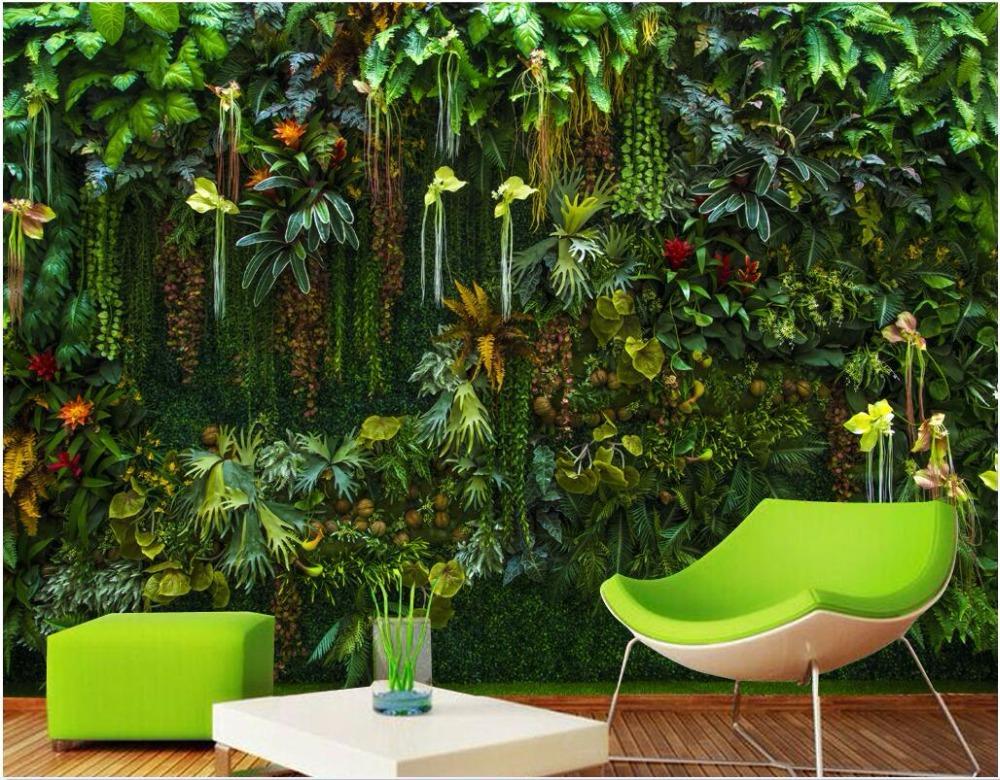 مخصص جدارية 3D خلفية الغابات المطيرة أوراق النباتات والزهور غرفة المعيشة ديكور المنزل اللوحة 3D الجداريات خلفية للجدران 3 د