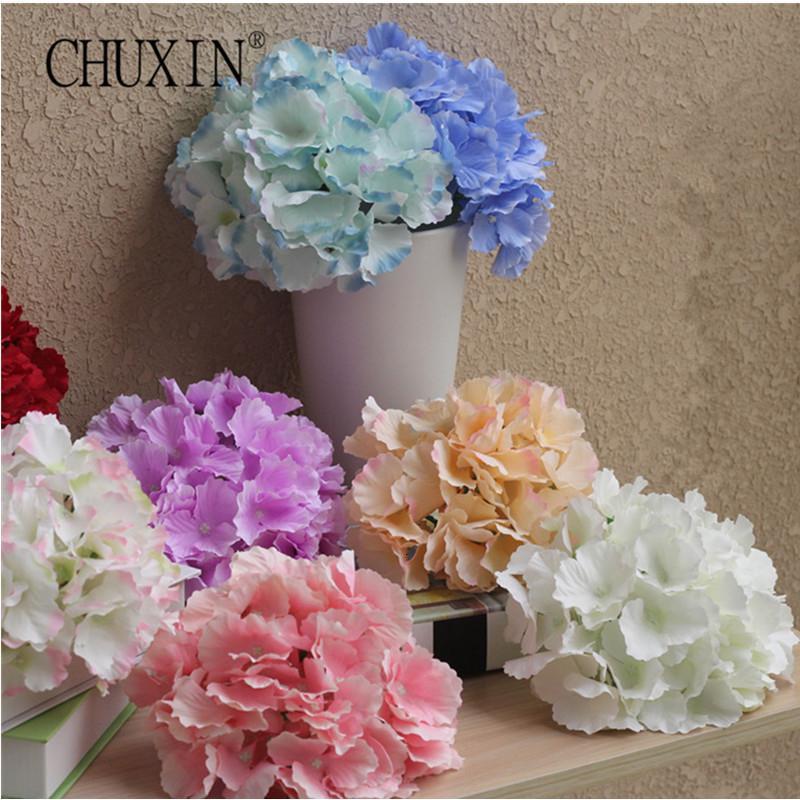 20pcs/lot silk Hydrangea flower head big size wedding flowers wall decoration Bride bouquet Accessories 54pcs petal composition SH190920