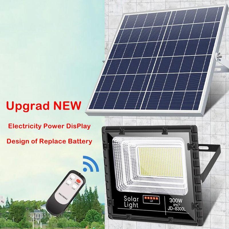 Umlight1688 beweglichen wasserdicht Aluminium-Fernbedienung 100W 200W 300W 696 LED-Outdoor-Solar-LED-Flutlicht mit Batterieanzeige