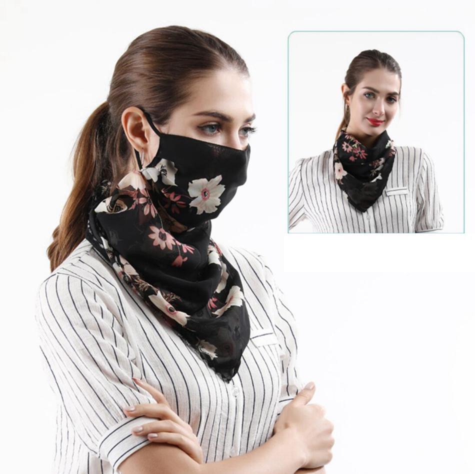 Seidenschal Gesichtsmaske 40 Styles Chiffon Sonnenschutzmaske Außenreit Masken Schutz Seidenschal Einstecktuch DA394