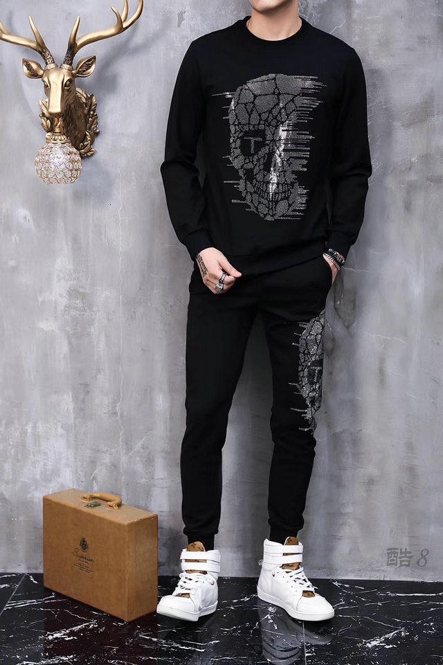 2019 Casual Lettera uomini Set Moda modello Mens Sportwear Tuta a maniche lunghe con cappuccio con coulisse Pantalone lungo Suit Maschio 9022