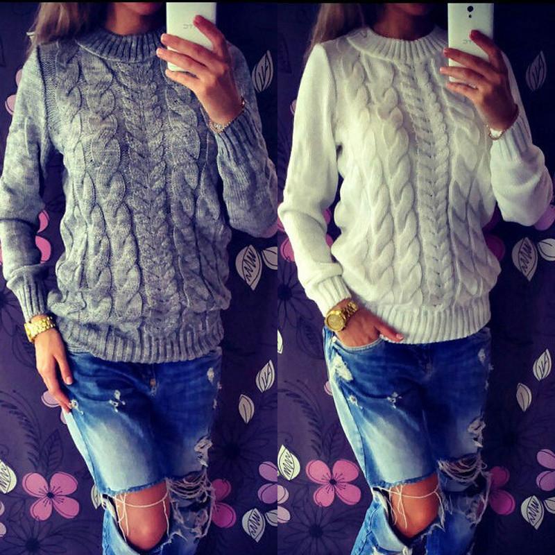 Alta Qualidade Moda Casual Roupas Femininas Feminino cor sólida O-Neck Manga comprida camisola de malha Mulheres Macio Pullovers