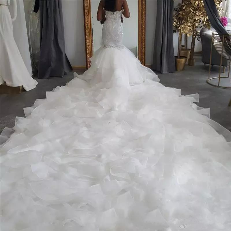 Luxury Design Long Trail sirène robes de mariée bretelles dentelle volants niveaux organza Robe de mariée Taille Plus Robes De Novia