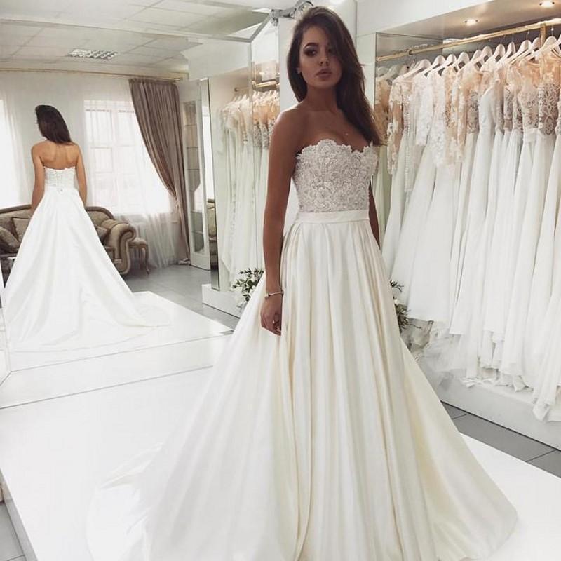 2020 Nuovo Abiti da sposa Una Sfera pizzo linea Appliques raso Robe De Mari EE Vintage abito da sposa abito da sposa