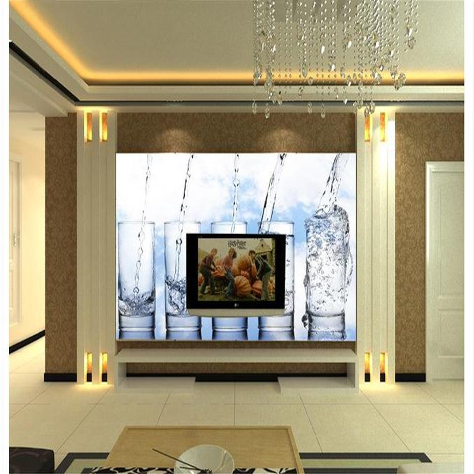 custom size 3d photo wallpaper living room bed room mural add water glass cup 3d picture sofa TV backdrop wallpaper non-woven wall sticker