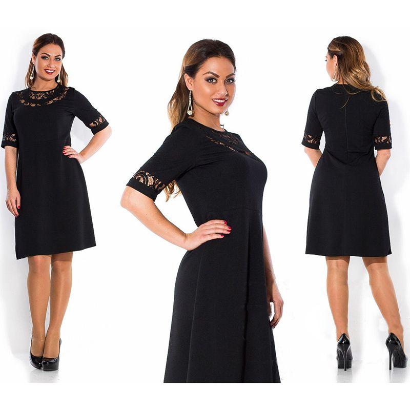 Vestito di pizzo mezza manica solido di colore Abbigliamento Donna New Style Summer Dress Womens O-Collo abiti al ginocchio fz3853