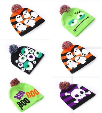 Venta al por mayor sombreros de punto de Halloween niños bebés mamás gorros cálidos gorros de invierno de ganchillo para calabaza calavera de acrílico gorro de fiesta accesorios de regalo AL002