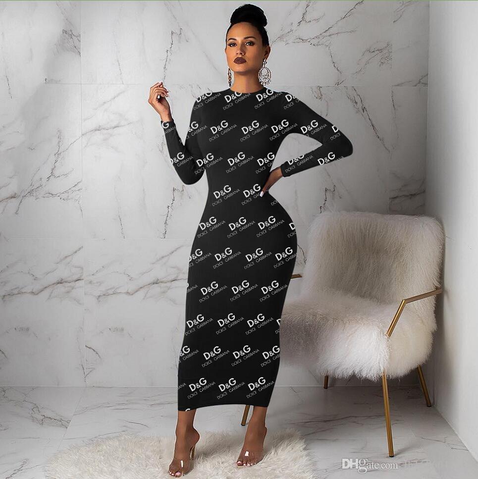 S-XXXL Herbst Frauen Rundhals Langarm Maxi Kleider sexy schwarz Braun Brief Drucken Casual Kleider lange Bodycon Party Kleid Multi Marke