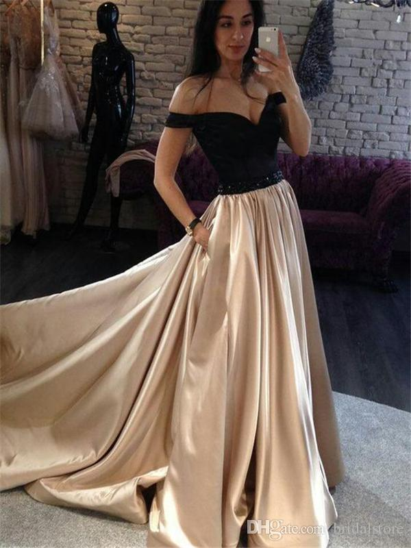 Vintage Black And Gold Prom Dresses With Pockets Full Length Satin Beaded Sash Formal Long Evening Dress Plus Size Special Occasion Gowns