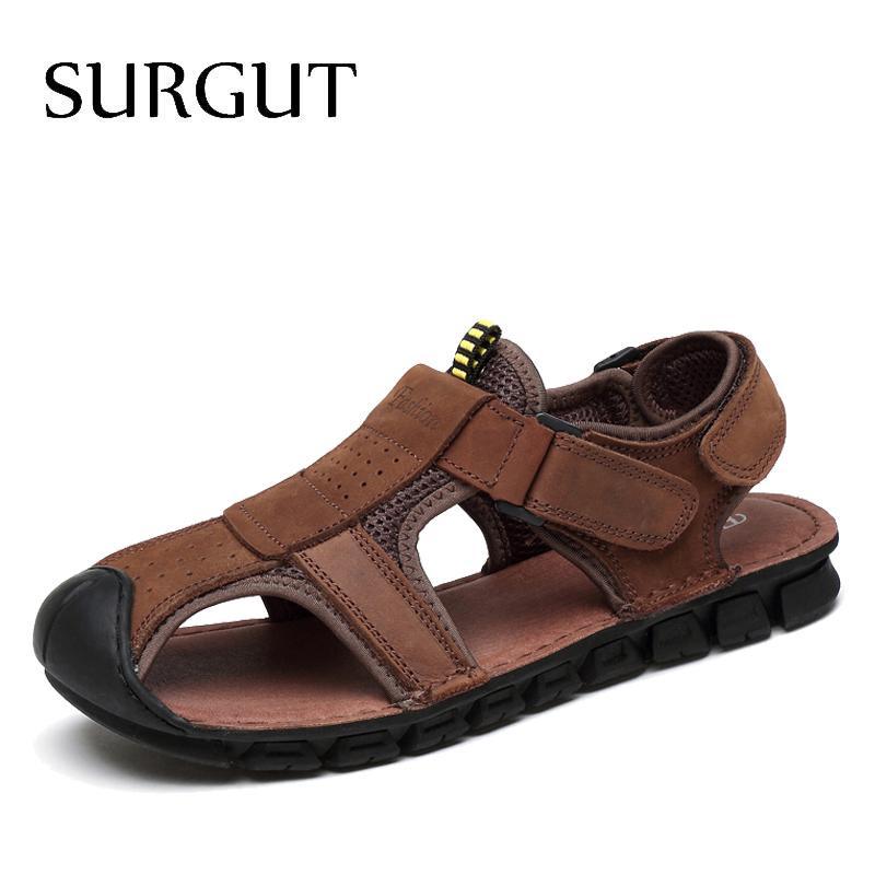 Hombres camiseta clásica suaves del cuero genuino sandalias cómodas sandalias de alta calidad de los hombres de verano romana tamaño de los zapatos 38 ~ 44