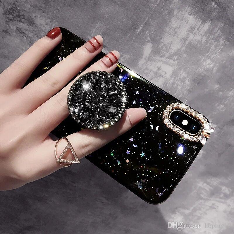 Luxury Blingbling Diamond Phone Holder cases For iPhone 6 6SP 8 Plus 7Plus X XS MAX XR Phone Case Glitter stars Capa Funds