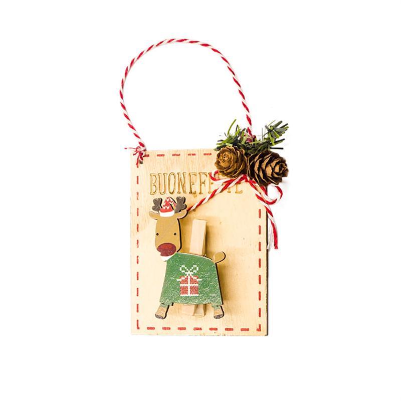 Santa Bonhomme de neige de cerfs communs Clips en bois suspendus Pendentif de Noël Décorations d'arbre de décoration de Noël Décoration pour la maison de bricolage Artisanat AG19