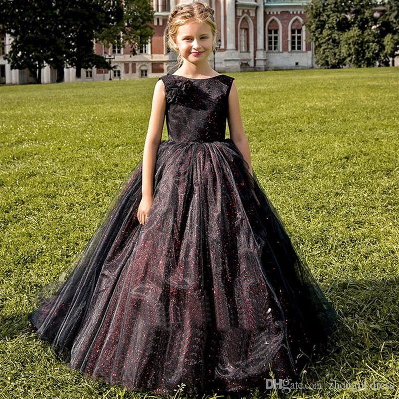 결혼식을위한 꽃의 소녀 드레스 흑인 소녀 민소매 얇은 명주 그물 투투 공주 선발 대회 생일 Porm 파티 신부 드레스
