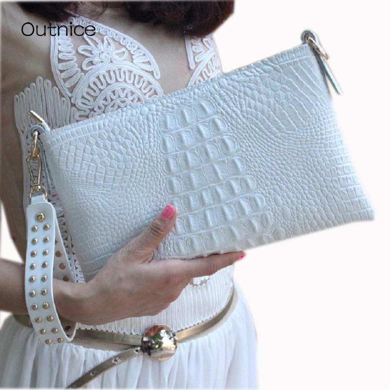 Weiß-Umschlag-Abend-Handtasche Krokodil-Muster-Leder-echte Messenger-Frauen-Beutel Crossbody Geldbeutel und Handtaschen-Designer