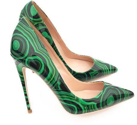Горячая распродажа - женская обувь высокие каблуки Туфли на шпильке зеленый черная лакированная печатная точка Toe сексуальные высокие пятки насосов партии обувь свадебные туфли 12 см 10 см