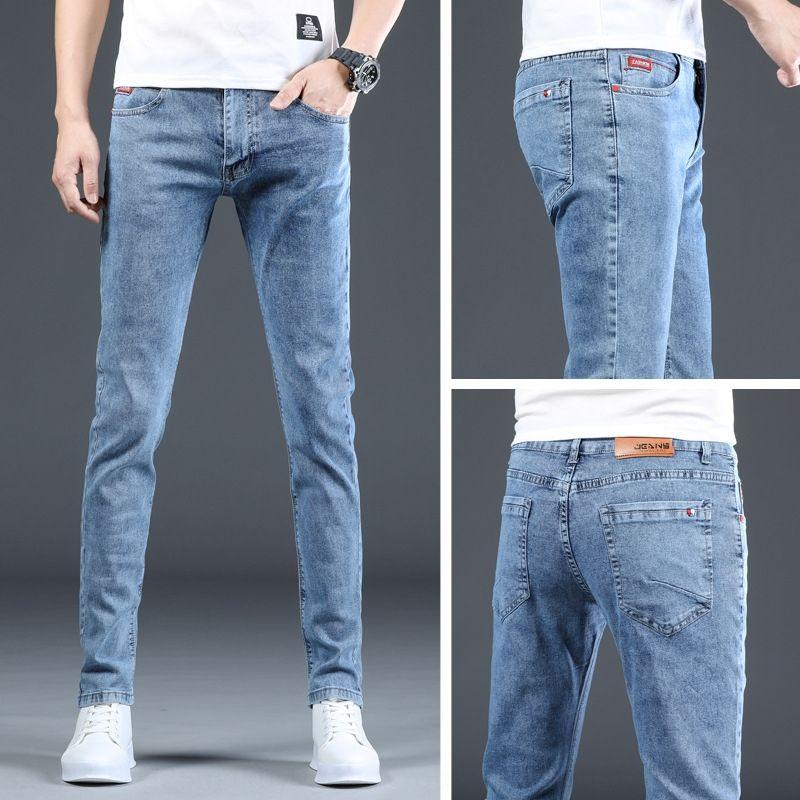 olKKk EjONH été style coréen hommes pantalons et des pantalons à la mode pantalon cheville amincissent polyvalent Jeans extensible mode casual 2020 cheville-len
