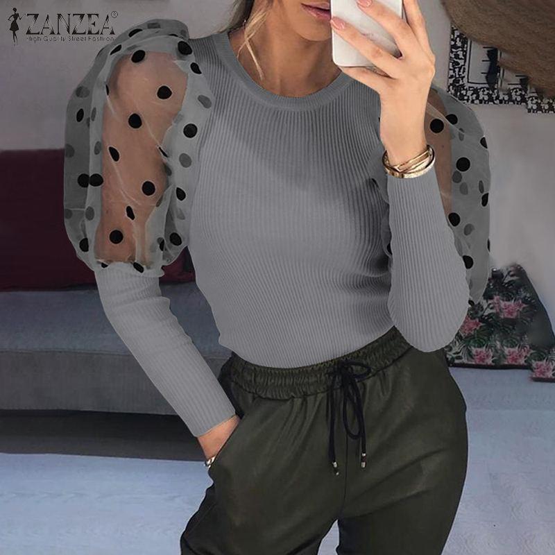 ZANZEA Fashion Women Polka Dot Shirt Casual Mesh Long Puff Sleeve Blouse Spring Patchwork Tops Female Ribbed Robe Blusas Mujer