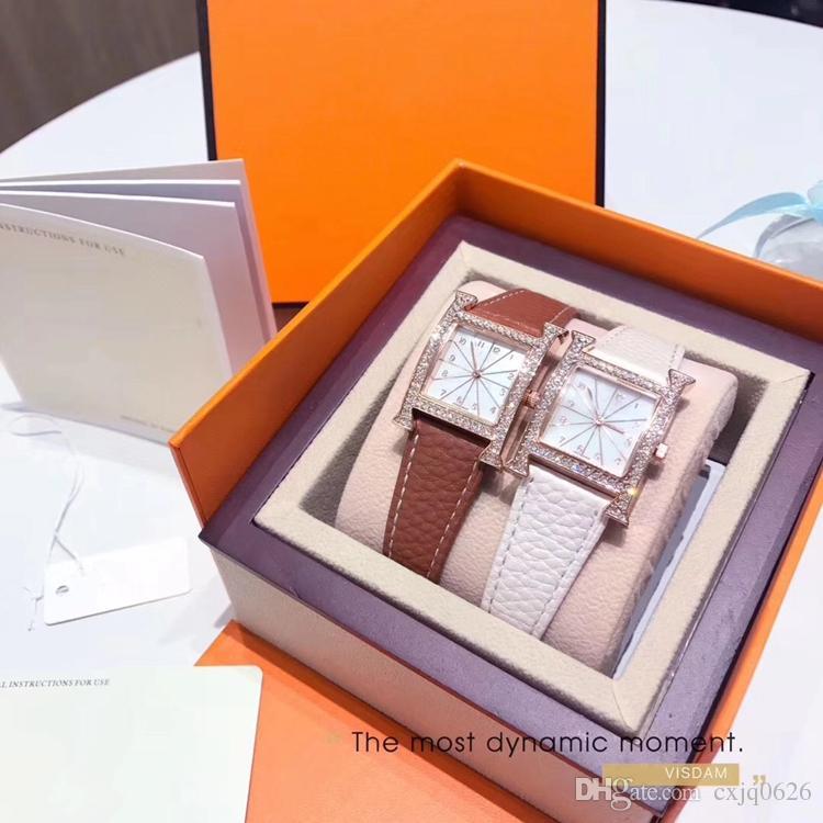 Dropshiping 새로운 패션 여성 톱 가기 로즈 골드 정품 가죽 시계 손목 시계 명품 레이디 시계 인기있는 패션 wholesales 고품질