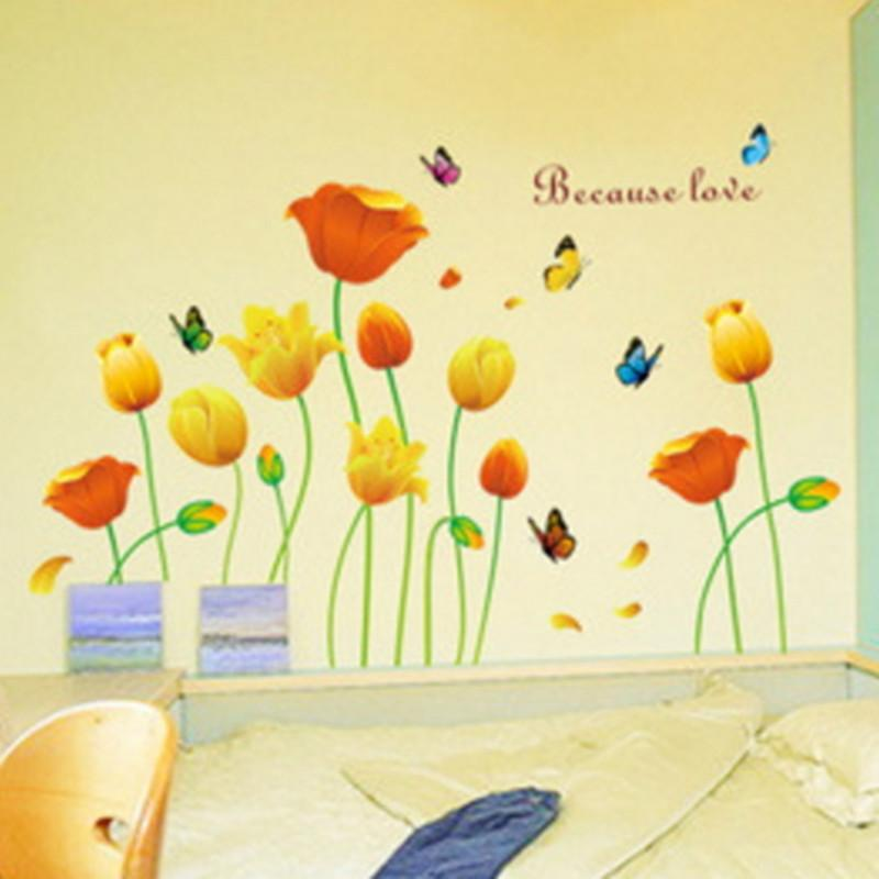 Decoration Wall Sticker Bedroom Romantic Flower Kids Boy Children Wallpaper Home Art Room Decor Hallway Mural PVC Decorative Girl