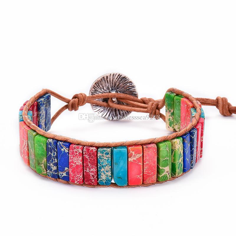 Factory direct sales New seven color chakra natural imperial stone woven Bracelet seven chakras Leather Winding Bracelet