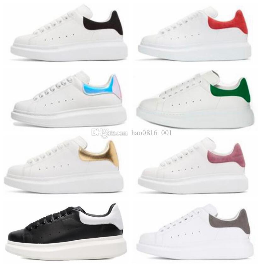 Beat Designer Shoes entrenadores reflectantes Plataforma de las zapatillas de deporte para mujer para hombre del plano de cuero blanco Casual zapatos de fiesta de boda size35-44 de ante Deportes