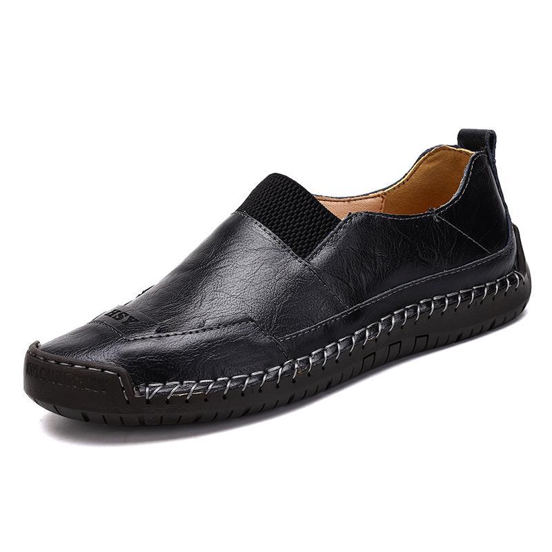 رجالية احذية عادية للتنفس الجلدية المصنوعة يدويا متعطل القيادة أحذية الرجال مريح حجم الأحذية الشقق في الهواء الطلق الرجل الكبير 38-48