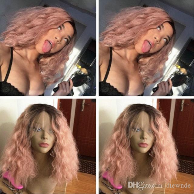 Hot Light cool rose Comme Ombre de fumée cheveux synthétique avant de dentelle perruque Vague court Bob cheveux résistant à la chaleur 180% Densité Livraison gratuite 150