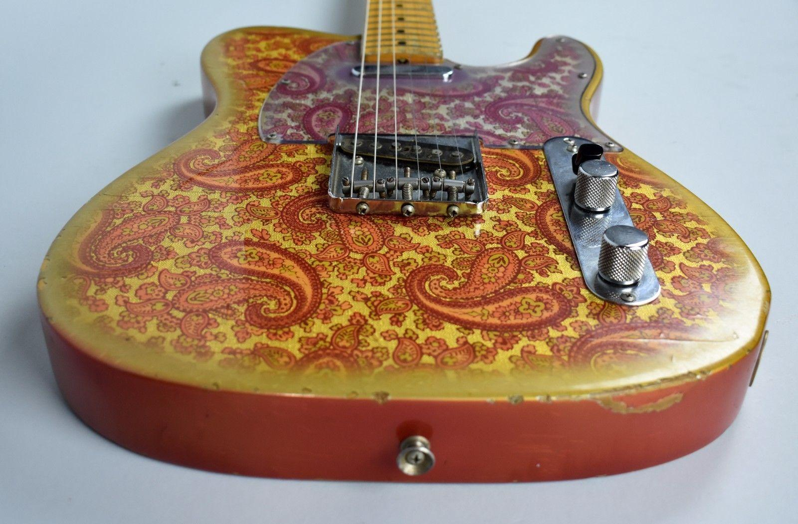 Benutzerdefinierte Masterbuilt Dale Wilson 1969 Relic Gold-Burst Rosa Paisley Tele E-Gitarre, Ahorn Griffbrett Black Dot Inlay, Vintage-Tuners