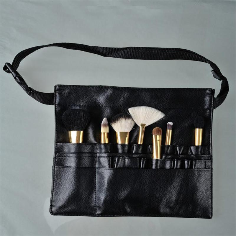 Wholesale- Three Arrays Makeup Brush Apron with Artist Belt Strap Leather Make Up Brush Bag Holder Professional Cosmetic Bags Cases neceser