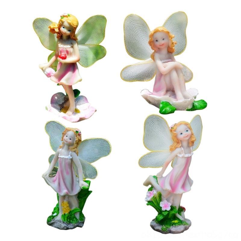 4 pc / insieme Fiore Pixie Fata miniatura Figurine Dollhouse Giardino Altro per la casa dcor casa ornamento decorazione Mestieri Figurine