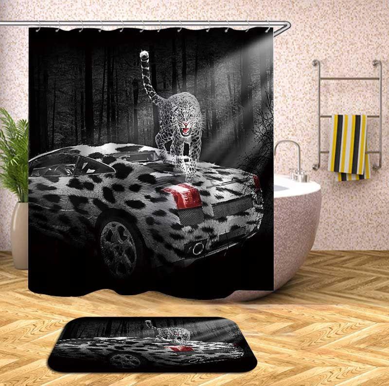 Marble Texture Shower Curtain Waterproof Polyester Mat Decor Bathroom