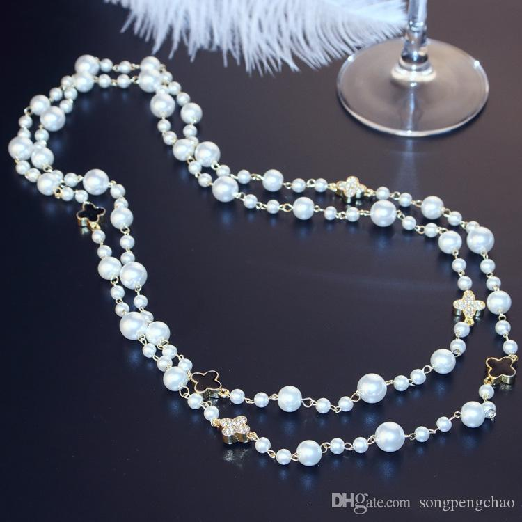 2018 Korean version of the ladies long necklace Best selling crystal diamond ladies sweater chain Fashion multi-layer flower pearl necklace