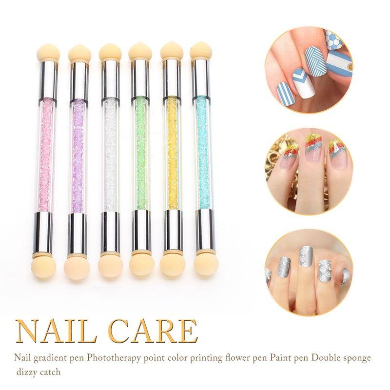 Sponge Nail Art Tools Double-ended Glitter Powder Picking Dotting Gradient Pen Brush Acrylic Gel Painting Pen Manicure Tools HHA243