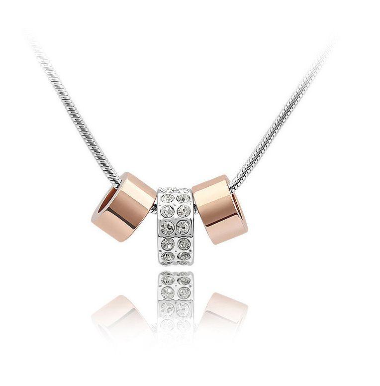 روز 18K مطلية بالذهب دائرة CZ كريستال قلادة معلقة للمجوهرات النساء لامعة الزفاف حجر الراين جودة عالية