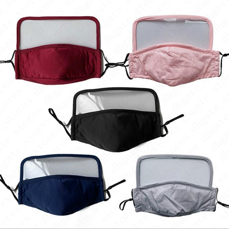 2 en 1 Lavable Face Mask avec PM2,5 Filtres fente Clear Shield Visage Masques en plastique couverture yeux réutilisable respirante Cyclisme visage Couverture de D6809