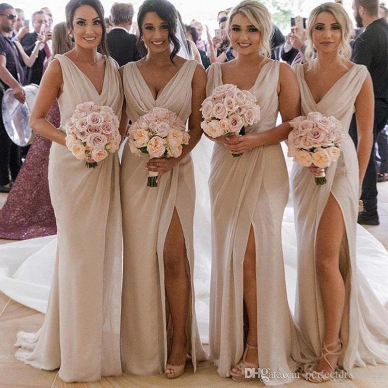 2019 Hot Sale Champagne Bridesmaid Dresses